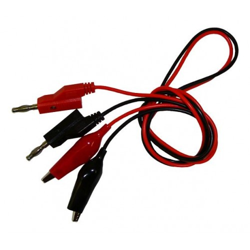 2 Banana Plug Cables With Alligator Clip End 50cm