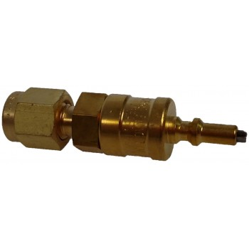 Brass Miniature Quick Connect Stem with Valve, 0.05 Cv, 1/8 in. Swagelok Tube Fitting